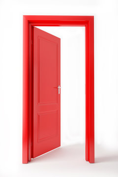 red opened door on white background