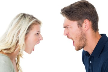 Angry couple shouting during argument