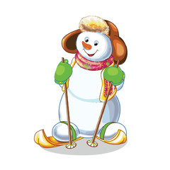 funny snowman skiing on white background