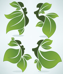 beauty and nature, vector collection of leaves girls