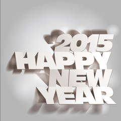 2015: Monochrome Paper Folding with Letter, Happy New Year.