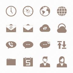 Brown icon mobile phone set