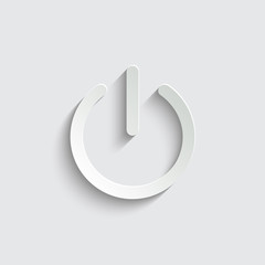 On/Off switch icon with shadow on a grey background