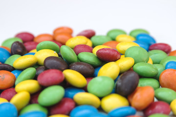 Pile of colorful chocolate coated candy