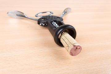 wine cork and corkscrew