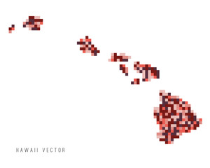 A vector outline of Hawaii in a pixel art style