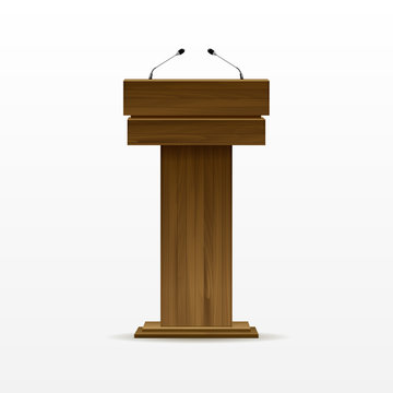 Wood Podium Tribune Rostrum Stand with Microphone
