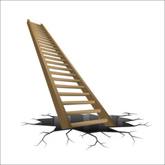 wooden ladder rising from cracked ground