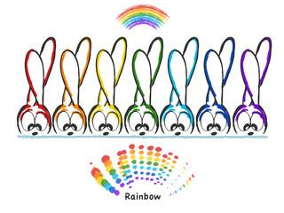 Vector illustration, rabbits and rainbow