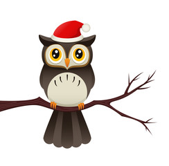 Owl With A Santa Hat