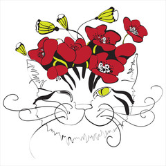 cat head with poppy flowers