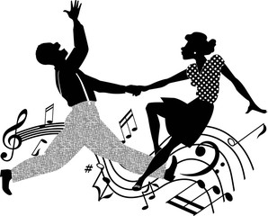 Couple dancing rock and roll in black and white