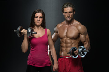 Fitness Couple Exercise Biceps