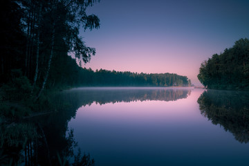 Trees reflecting in water surface at morning sunrise