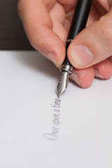 """Fountain pen writing the words """"Once upon a time"""""""