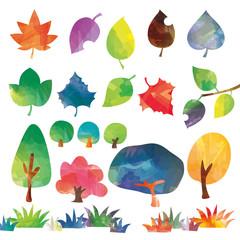 木と葉のセット