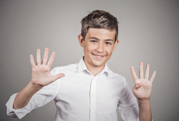 Young man showing two hands, palms, fingers, making number nine
