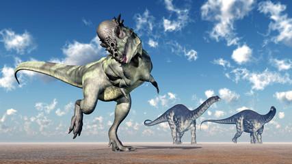 Pachycephalosaurus and Apatosaurus