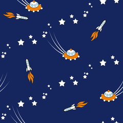 Seamless space vector pattern with spaceship and ufo