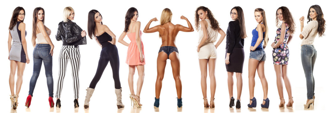Collage - a rear view of a group of differently-dressed women