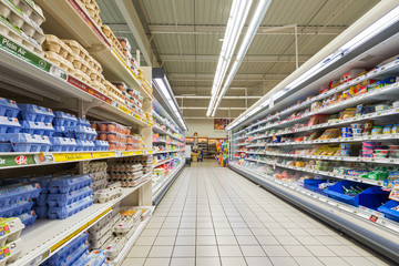 Supermarket. Interior view.