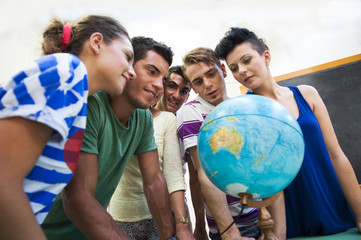 Students at school with globe