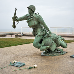 Soldier statue memorial. Omaha beach, France.
