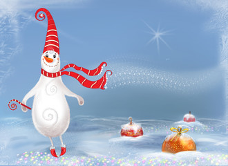 Snowman Scene - Illustration.Сheerful ,happy snowman.