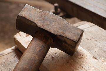 Closeup of an old hammer.