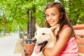 Closeup shoot of girl with her dog