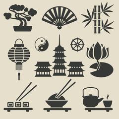 Asian icons set