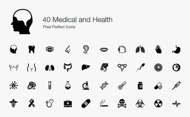 40 Medical and Health Pixel Perfect Icons