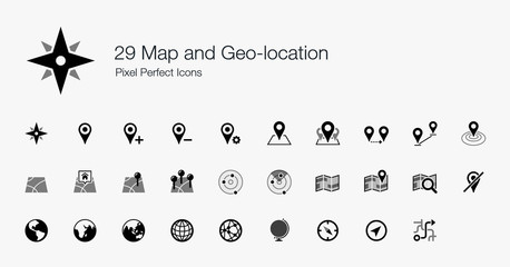29 Map and Geo-location Pixel Perfect Icons Wall mural