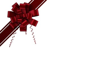 Red christmas bow and ribbon