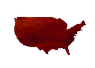 Textured Map of United States - america - red and white