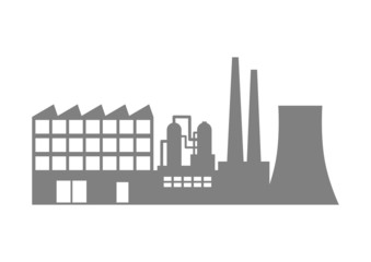 Grey factory icon on white background