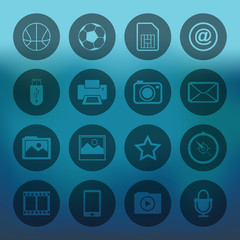 Blue background with circle mobile phone icons set