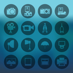 Blue background with circle Camera and accessory icons set