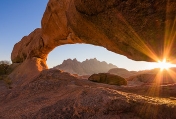 Natural Stone Arch in the Sunrise, Spitzkoppe, Namibia