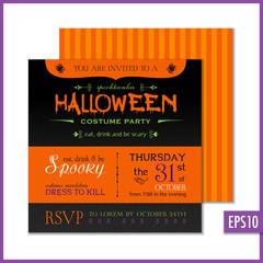 Halloween Invitation Black Orange