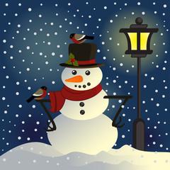 snowman under lantern - vector illustration, eps