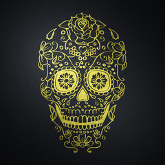 golden mexican sugar skull