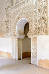 Datail of The Ben Youssef Madrasa in Marrakesh, Morocco