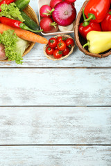 Summer frame with fresh organic vegetables and fruits