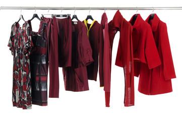 female clothing hanging as display.
