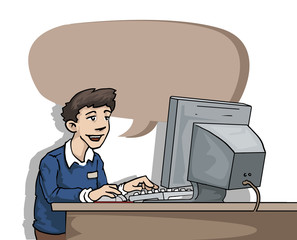 Guy at the office, next to a computer, with speech bubble
