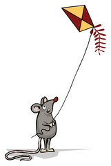 Cute rat, mouse, flying a kite
