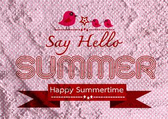 Summer idea design card on Cement wall  Background texture