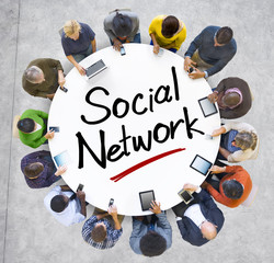 People Holding Hands Around Letter Social Network
