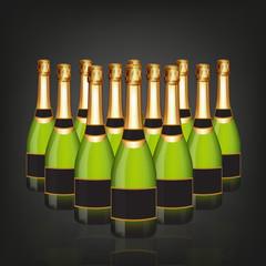 Champagne bottle in rows
